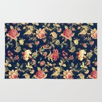 vintage floral Area & Throw Rugs featuring Vintage Floral by ENSBlackbird