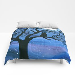 Meowing at the moon - moonlight cat painting Comforters