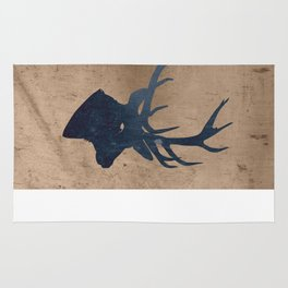 Grunge Deer Stag Simple Illustration for Men Rug