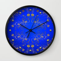 floral pattern Wall Clocks featuring Floral Pattern by Looly Elzayat