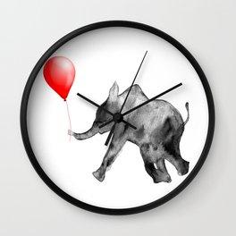 Happy Valentines, watercolor, elephant Wall Clock