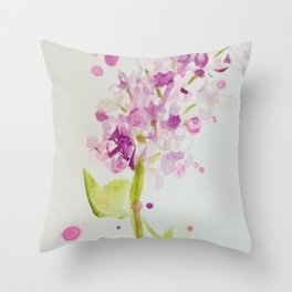 Lilac Sweet Pink Blossom watercolor by CheyAnne Sexton Throw Pillow
