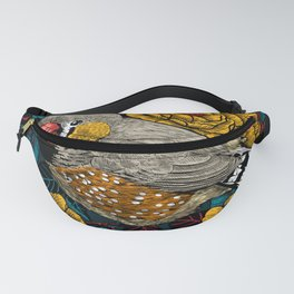 Zebra finch and rose bush Fanny Pack