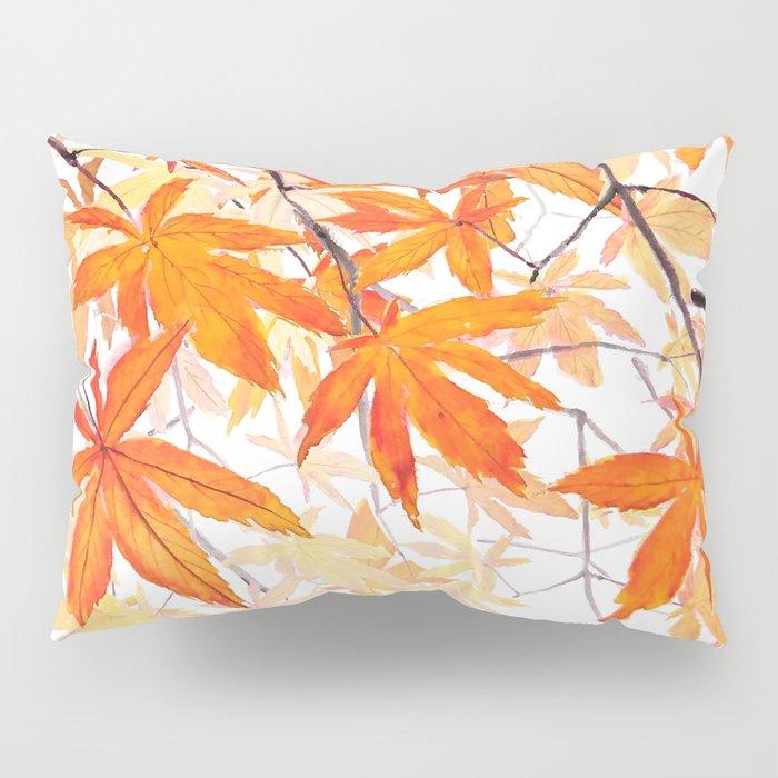 orange maple leaves watercolor Pillow Sham