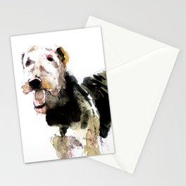 Airedale Terrier on watercolor Stationery Cards