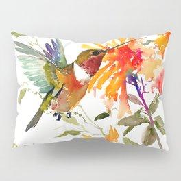 Hummingbird and Orange Floral Design Pillow Sham