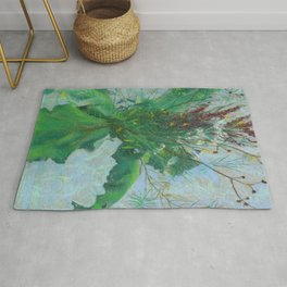Burdock leaves and autumn herbs Rug