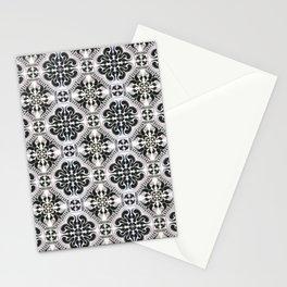 Portuguese Tiles Azulejos Black White Pattern Stationery Cards