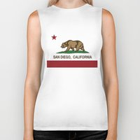 san diego Biker Tanks featuring California Flag San Diego by NorCal