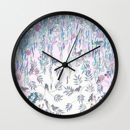 Birds in Willow Leaves Wall Clock