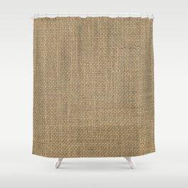 Natural Woven Beige Burlap Sack Cloth Shower Curtain