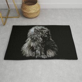 Main Coon Cat Comes For Dinner Rug