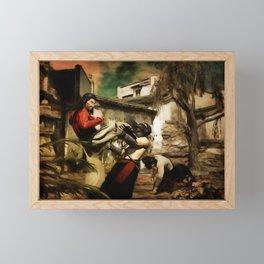 STREET FIGHT Retro Japanese Martial Arts Fight Scene Framed Mini Art Print