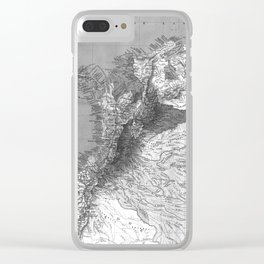 Vintage Map of Columbia (1886) BW Clear iPhone Case