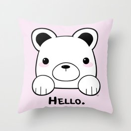 Pink Girly Girl Hello Bear Kawaii! Awww She Just Wants To say Hello! Throw Pillow