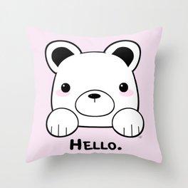 Pink Girly Girl Hello Bear Kawaii! Awww She Just Wants To say Hello! Throw Pillow
