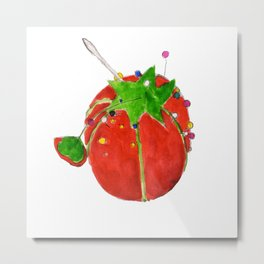 Tomato Pin Cushion Metal Print