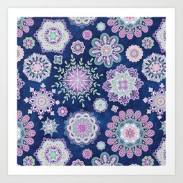 Folky SnowFlowers Art Print