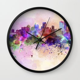 Detroit skyline in watercolor background Wall Clock