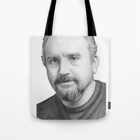 louis ck Tote Bags featuring Louis CK Portrait by Olechka