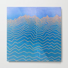 Mountain lines and blue sky - abstract vintage hand drawn illustration Metal Print