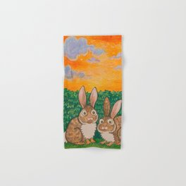 Rabbits in the Bushes Hand & Bath Towel