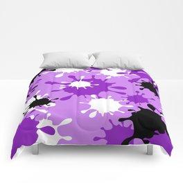 Paint Splatter-Purple+Black Comforters