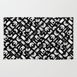Control Your Game - White on Black Rug