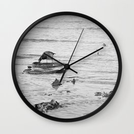 Trash Bird, black and white Wall Clock