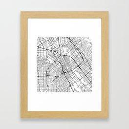 San Jose Map, USA - Black and White Framed Art Print
