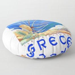 1949 Greece Island of Mykonos Travel Poster Floor Pillow