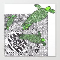 turtles Canvas Prints featuring Turtles by Kandus Johnson