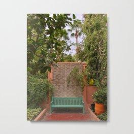 Green Bench, Jardin Majorelle, Marrakesh, Morocco Metal Print