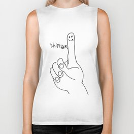 number one 1 finger hand Biker Tank
