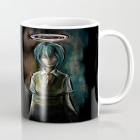 evangelion Mugs featuring Ayanami Rei Evangelion Character Digital Painting by Barrett Biggers