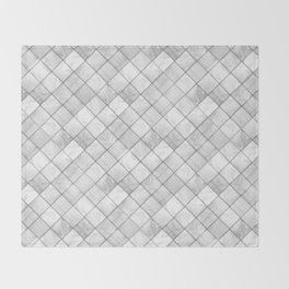 Faux Patchwork Quilting - White & Silver Pattern Throw Blanket