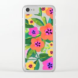Bold black floral 2 Clear iPhone Case