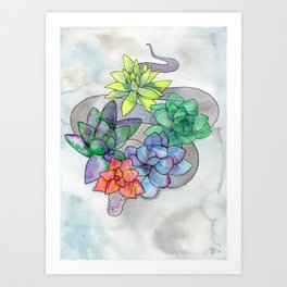 serpent and succulents Art Print