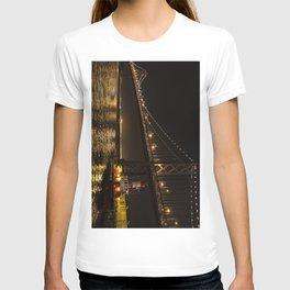 Bay Bridge Fire Boat at Night T-shirt