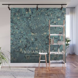 Indianapolis, United States - Cream Blue Wall Mural