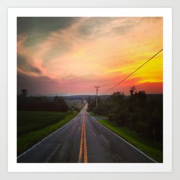 Sunset Over Fish & Game Road Art Print