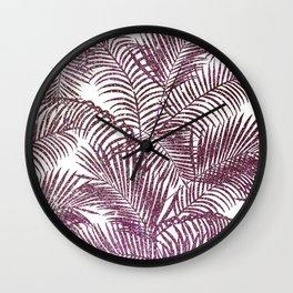 Modern purple pink faux glitter tropical palm tree Wall Clock