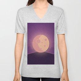 Night time full moon Unisex V-Neck