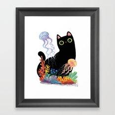 the Aquarium Cat _ Jellyfish Framed Art Print