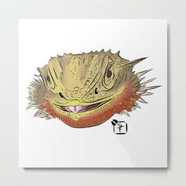 Bearded Dragon Face Metal Print