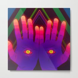 Psychedelic Energy Hands 2 (GIF Single Frame) Metal Print