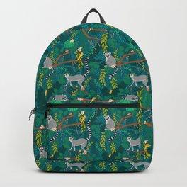 Lemurs in Teal Jungle Backpack