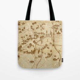 Vintage Map of London England Monuments (1877) Tote Bag