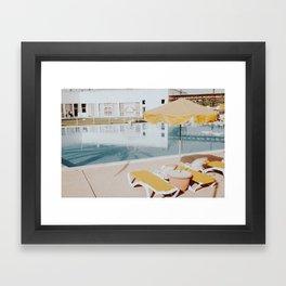 vintage summer poolside Framed Art Print