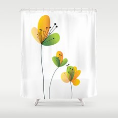 Abstract Flowers Shower Curtain